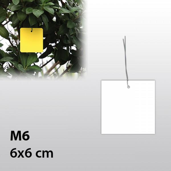 M6-Hängeetiketten mit Draht 6x6 cm