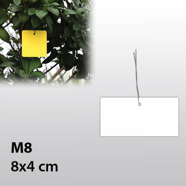 M8-Hängeetiketten mit Draht 8x4 cm