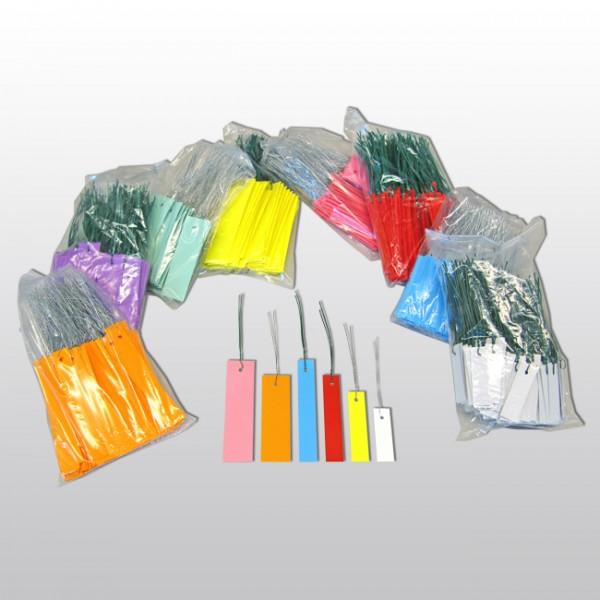 F10-Hängeetiketten mit Draht aus PVC 10x1,8 cm